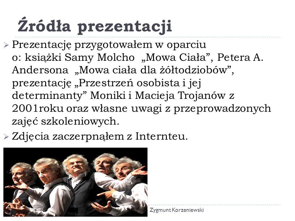 """Źródła prezentacji  Prezentację przygotowałem w oparciu o: książki Samy Molcho """"Mowa Ciała , Petera A."""