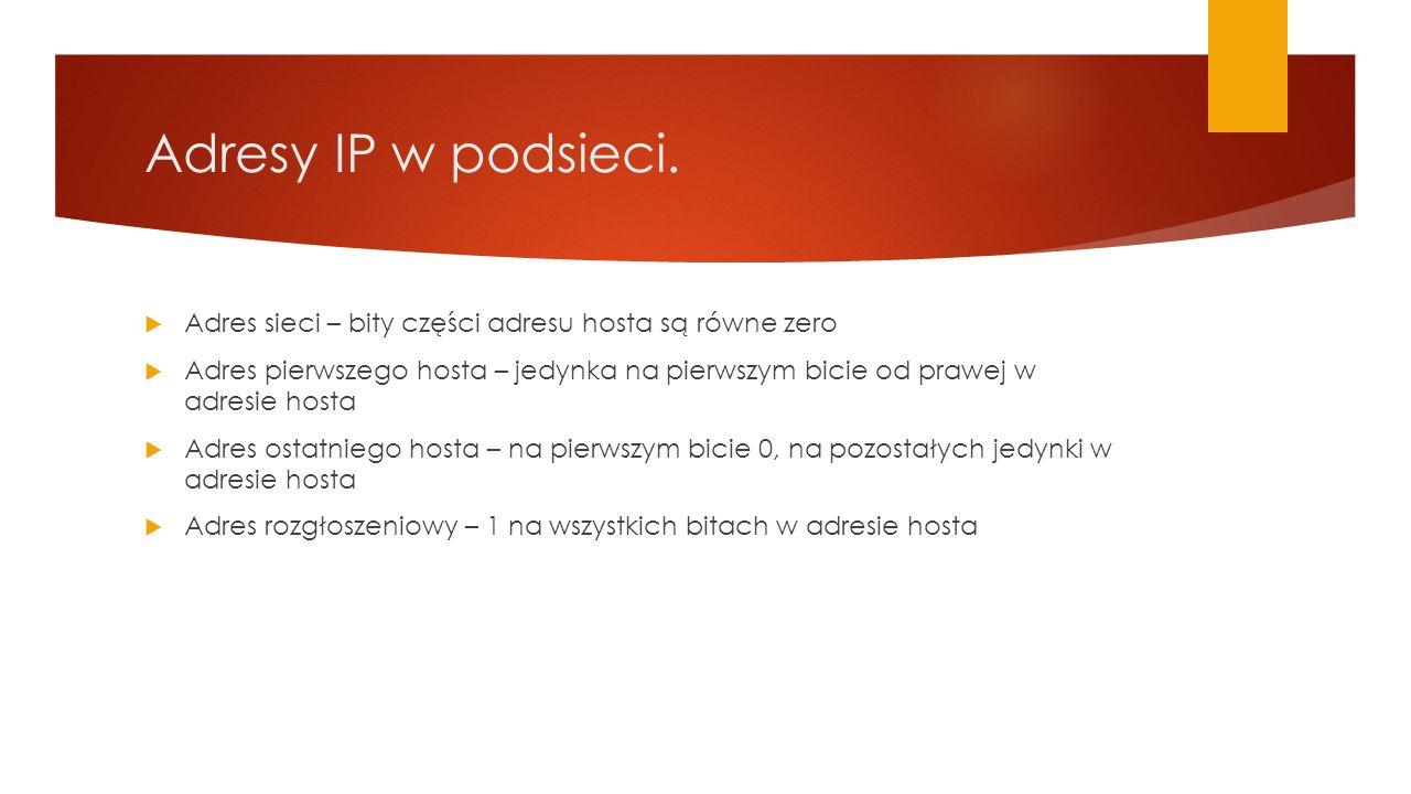 Adresy IP w podsieci.  Adres sieci – bity części adresu hosta są równe zero  Adres pierwszego hosta – jedynka na pierwszym bicie od prawej w adresie