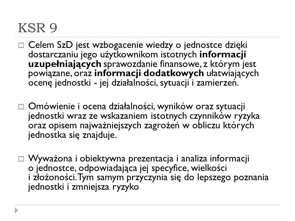 KSR 9  Celem SzD jest wzbogacenie wiedzy o jednostce dzięki dostarczaniu jego użytkownikom istotnych informacji uzupełniających sprawozdanie finansow