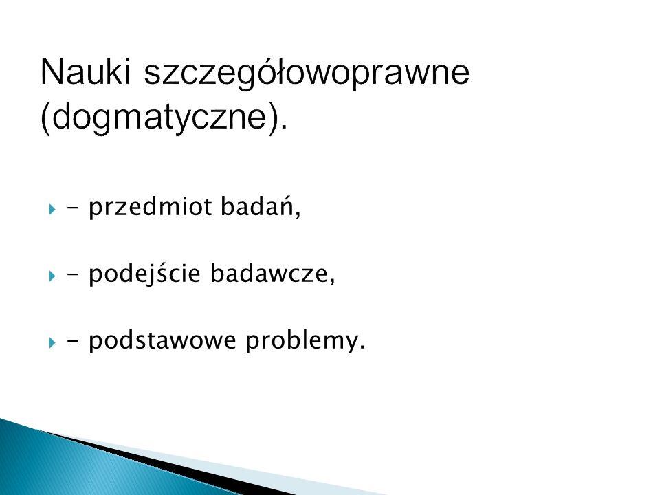  - przedmiot badań,  - podejście badawcze,  - podstawowe problemy.