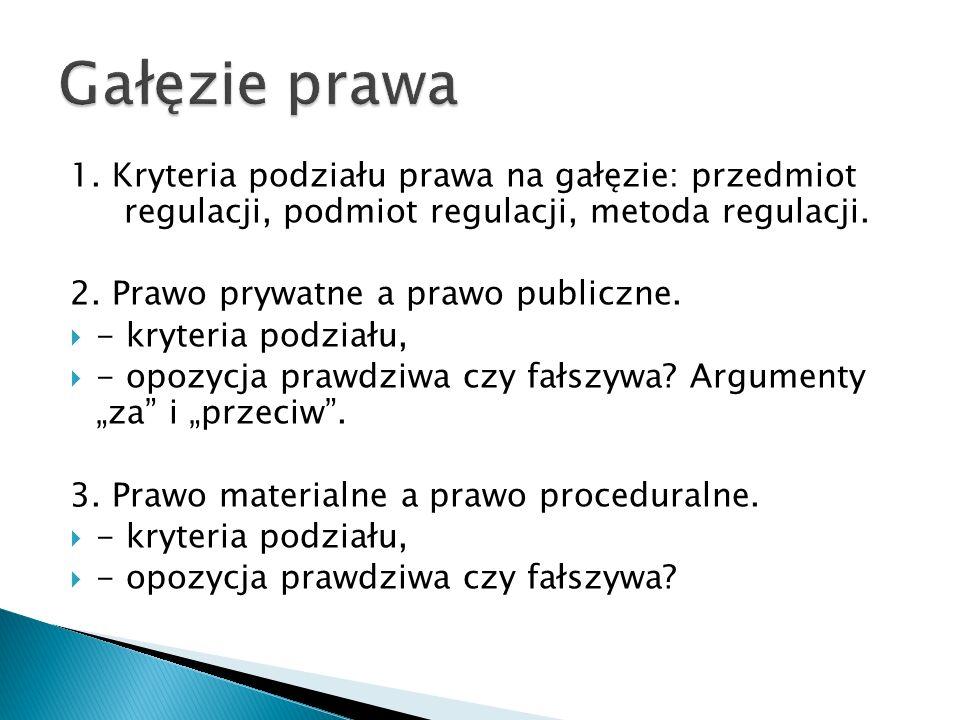 1. Kryteria podziału prawa na gałęzie: przedmiot regulacji, podmiot regulacji, metoda regulacji. 2. Prawo prywatne a prawo publiczne.  - kryteria pod