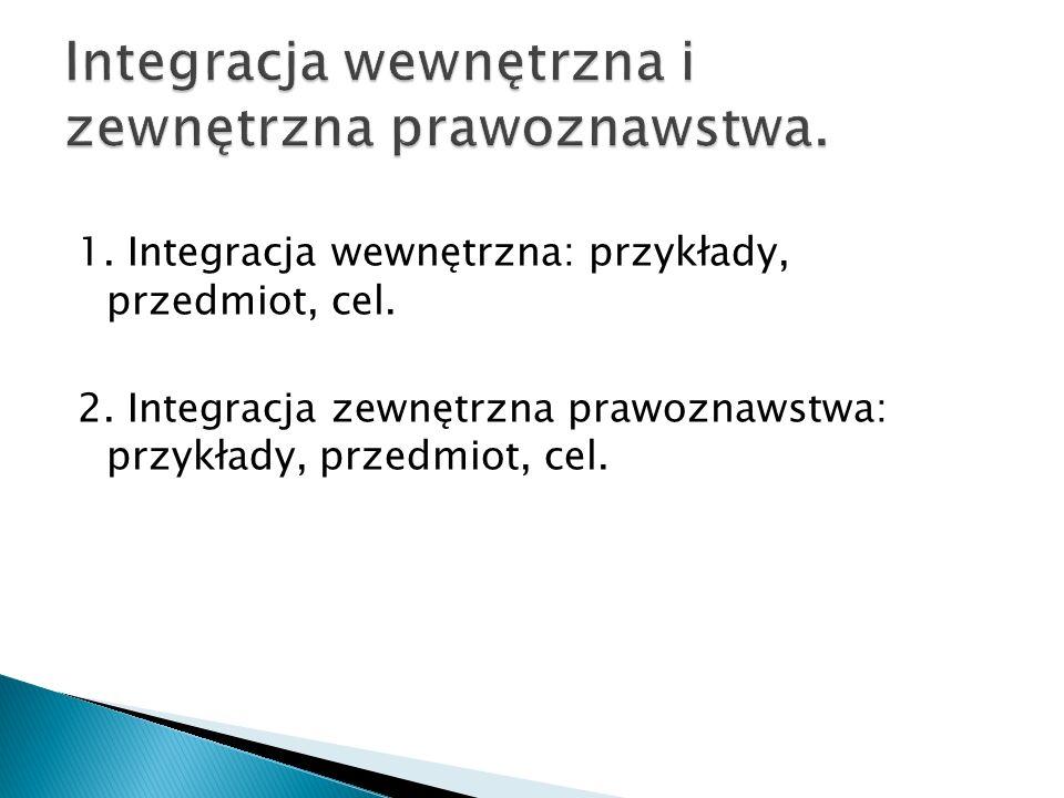 1. Integracja wewnętrzna: przykłady, przedmiot, cel. 2. Integracja zewnętrzna prawoznawstwa: przykłady, przedmiot, cel.