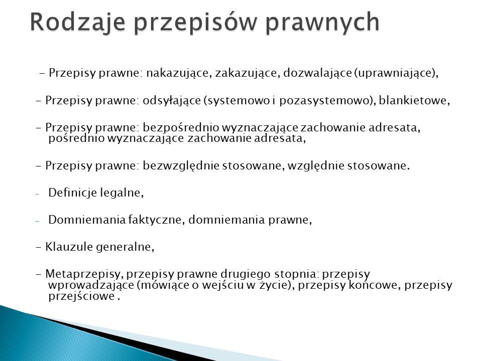 - Przepisy prawne: nakazujące, zakazujące, dozwalające (uprawniające), - Przepisy prawne: odsyłające (systemowo i pozasystemowo), blankietowe, - Przep