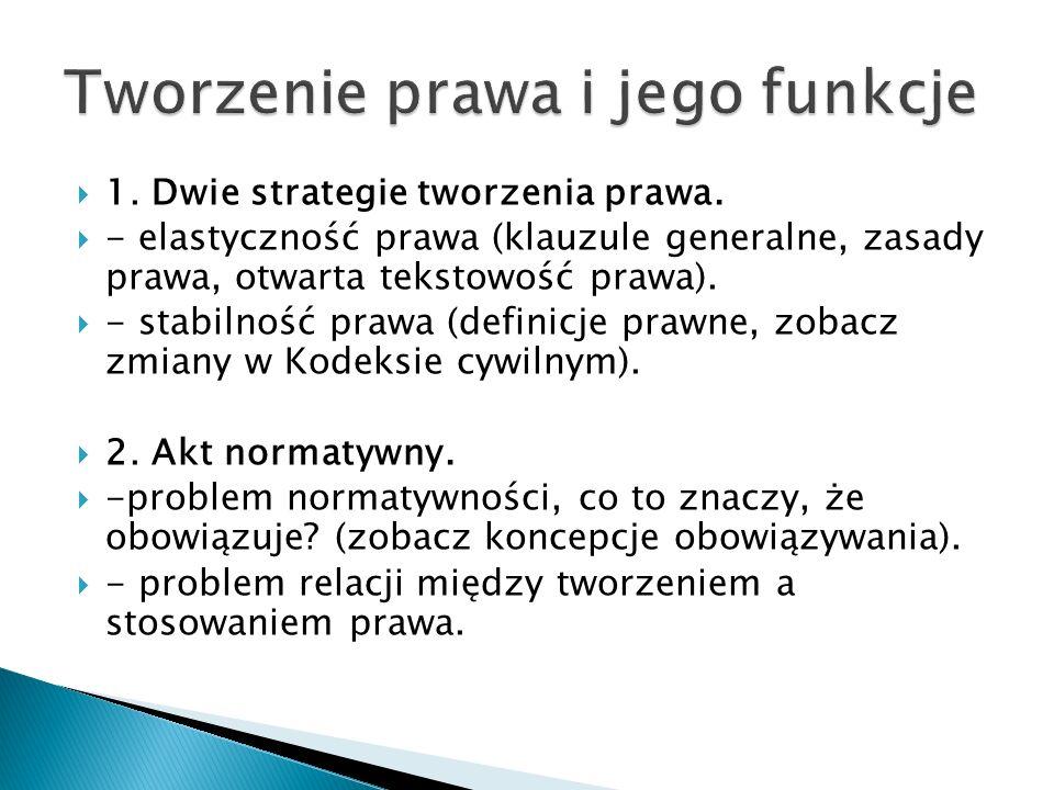 1. Dwie strategie tworzenia prawa.  - elastyczność prawa (klauzule generalne, zasady prawa, otwarta tekstowość prawa).  - stabilność prawa (defini