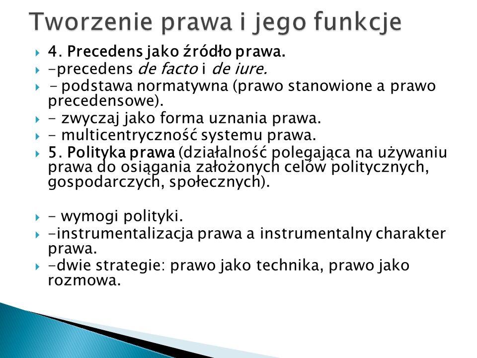  4. Precedens jako źródło prawa.  -precedens de facto i de iure.  - podstawa normatywna (prawo stanowione a prawo precedensowe).  - zwyczaj jako f