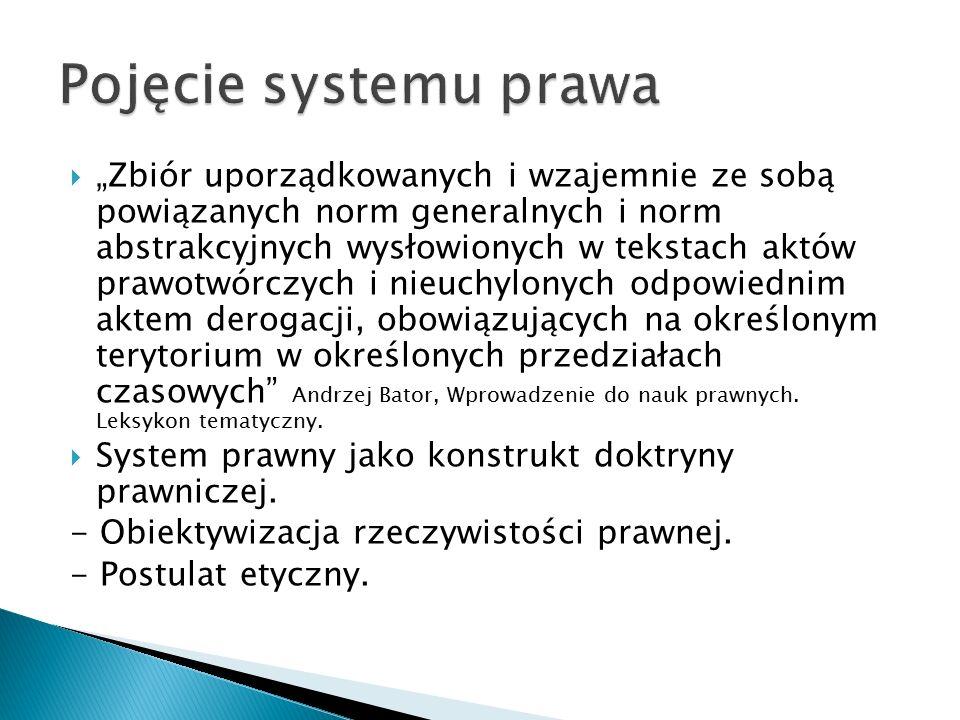 """ """"Zbiór uporządkowanych i wzajemnie ze sobą powiązanych norm generalnych i norm abstrakcyjnych wysłowionych w tekstach aktów prawotwórczych i nieuchy"""