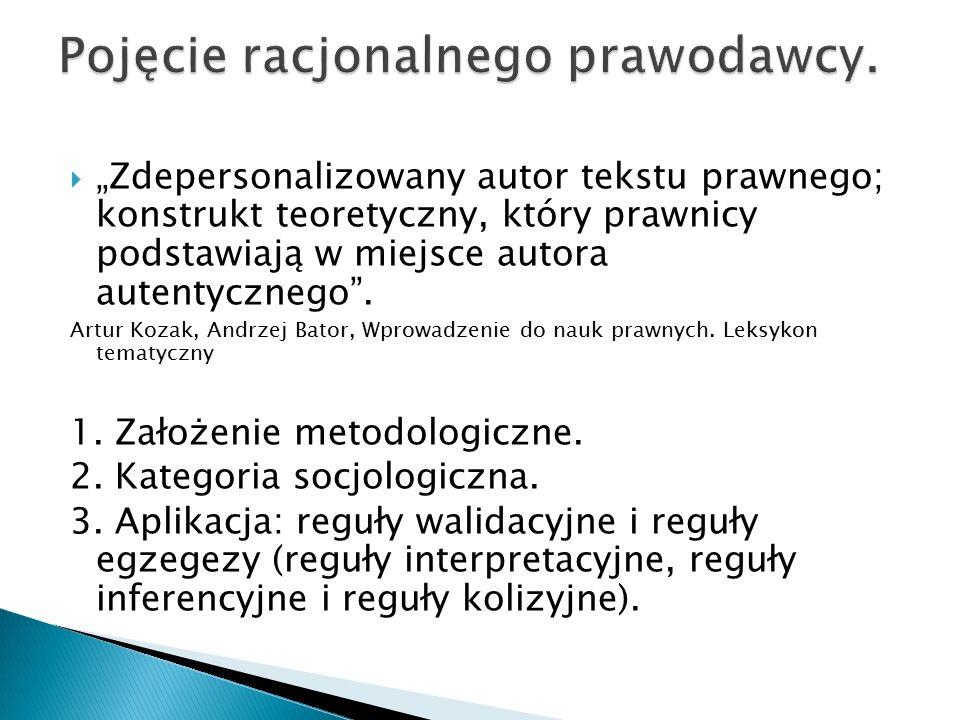""" """"Zdepersonalizowany autor tekstu prawnego; konstrukt teoretyczny, który prawnicy podstawiają w miejsce autora autentycznego"""". Artur Kozak, Andrzej B"""