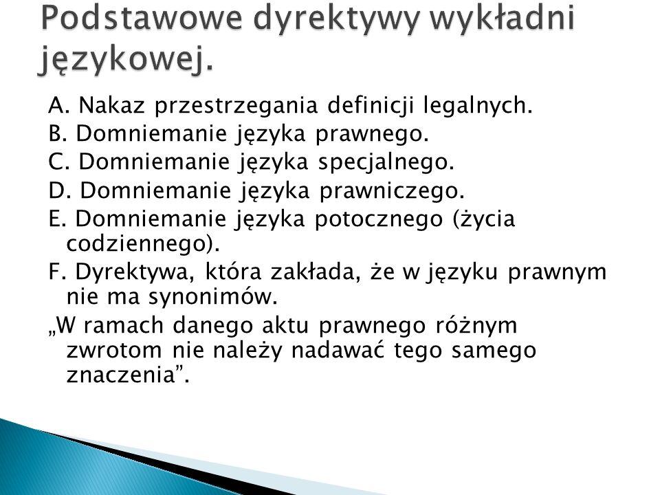 A. Nakaz przestrzegania definicji legalnych. B. Domniemanie języka prawnego. C. Domniemanie języka specjalnego. D. Domniemanie języka prawniczego. E.