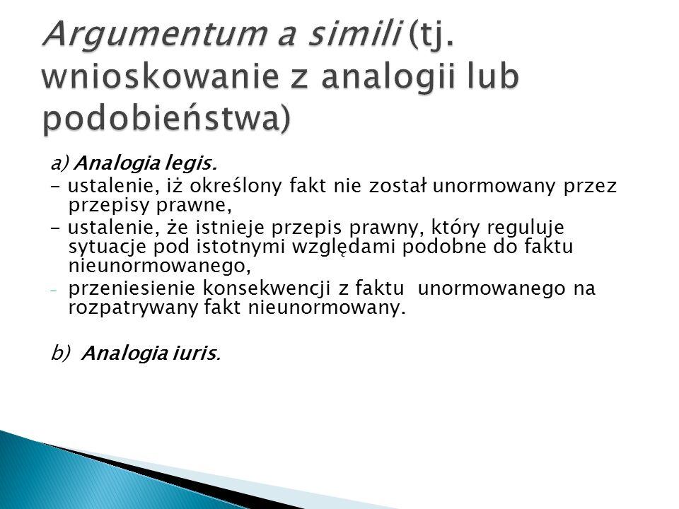 a) Analogia legis. - ustalenie, iż określony fakt nie został unormowany przez przepisy prawne, - ustalenie, że istnieje przepis prawny, który reguluje