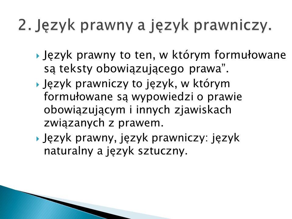 """ Język prawny to ten, w którym formułowane są teksty obowiązującego prawa"""".  Język prawniczy to język, w którym formułowane są wypowiedzi o prawie o"""