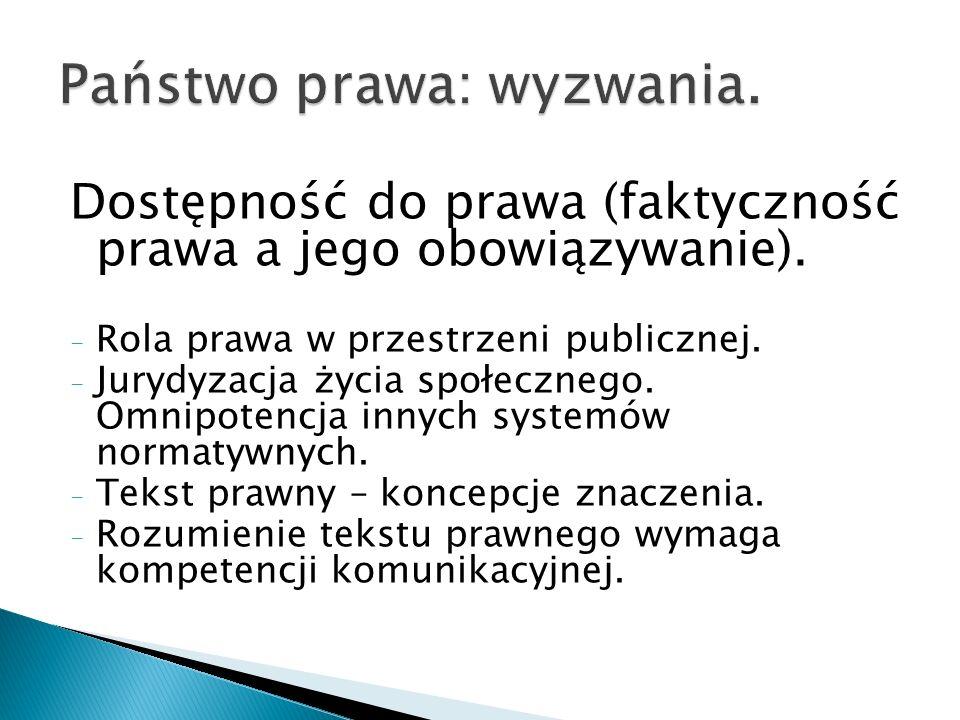 Dostępność do prawa (faktyczność prawa a jego obowiązywanie). - Rola prawa w przestrzeni publicznej. - Jurydyzacja życia społecznego. Omnipotencja inn