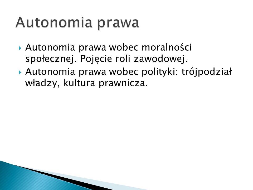  Autonomia prawa wobec moralności społecznej. Pojęcie roli zawodowej.  Autonomia prawa wobec polityki: trójpodział władzy, kultura prawnicza.