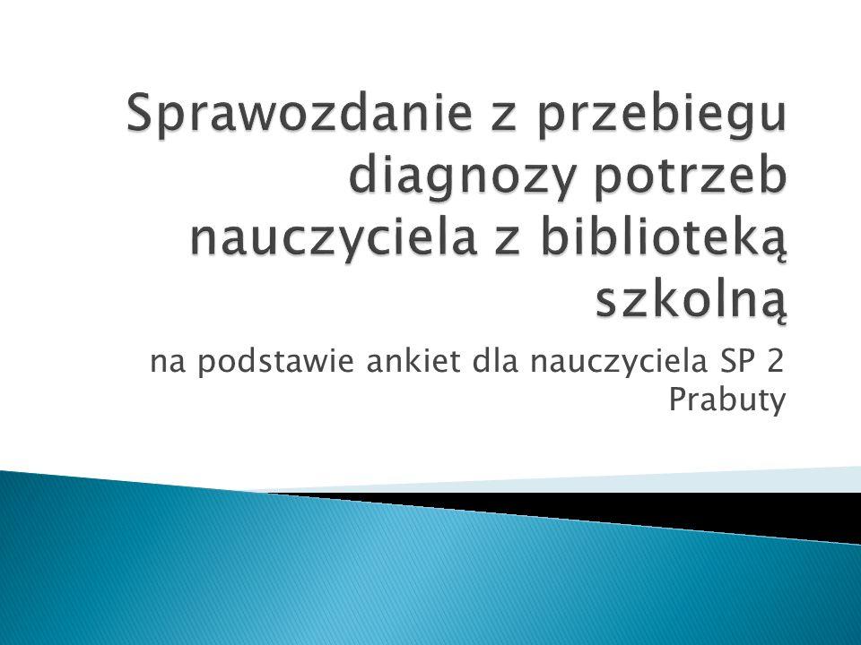 na podstawie ankiet dla nauczyciela SP 2 Prabuty