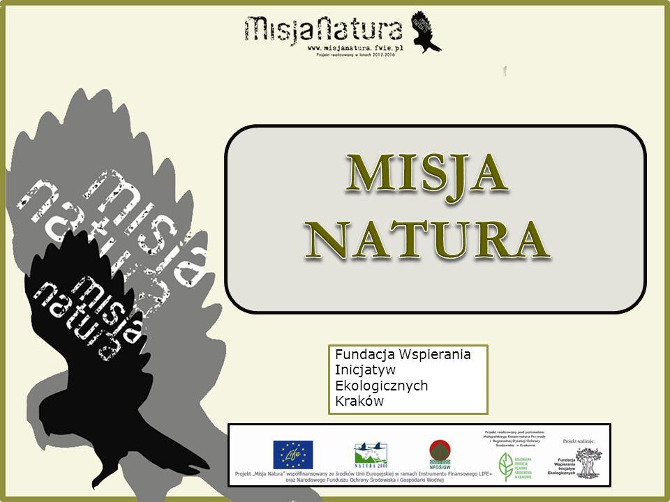 """Projekt """"Misja Natura realizowany jest przez Fundację Wspierania Inicjatyw Ekologicznych Realizacja projektu w latach 2012 - 2016 Finansowanie ze środków: Unii Europejskiej w ramach Instrumentu Finansowego LIFE+ oraz Narodowego Funduszu Ochrony Środowiska i Gospodarki Wodnej Projekt został objęty patronatem Małopolskiego Konserwatora Przyrody i Regionalnej Dyrekcji Ochrony Środowiska w Krakowie"""