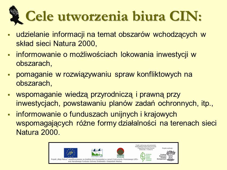 Cele utworzenia biura CIN :  udzielanie informacji na temat obszarów wchodzących w skład sieci Natura 2000,  informowanie o możliwościach lokowania inwestycji w obszarach,  pomaganie w rozwiązywaniu spraw konfliktowych na obszarach,  wspomaganie wiedzą przyrodniczą i prawną przy inwestycjach, powstawaniu planów zadań ochronnych, itp.,  informowanie o funduszach unijnych i krajowych wspomagających różne formy działalności na terenach sieci Natura 2000.