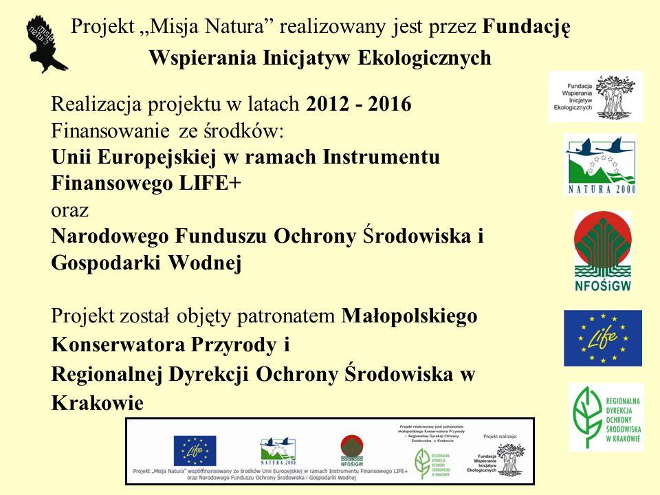 """Projekt """"Misja Natura"""" realizowany jest przez Fundację Wspierania Inicjatyw Ekologicznych Realizacja projektu w latach 2012 - 2016 Finansowanie ze śro"""