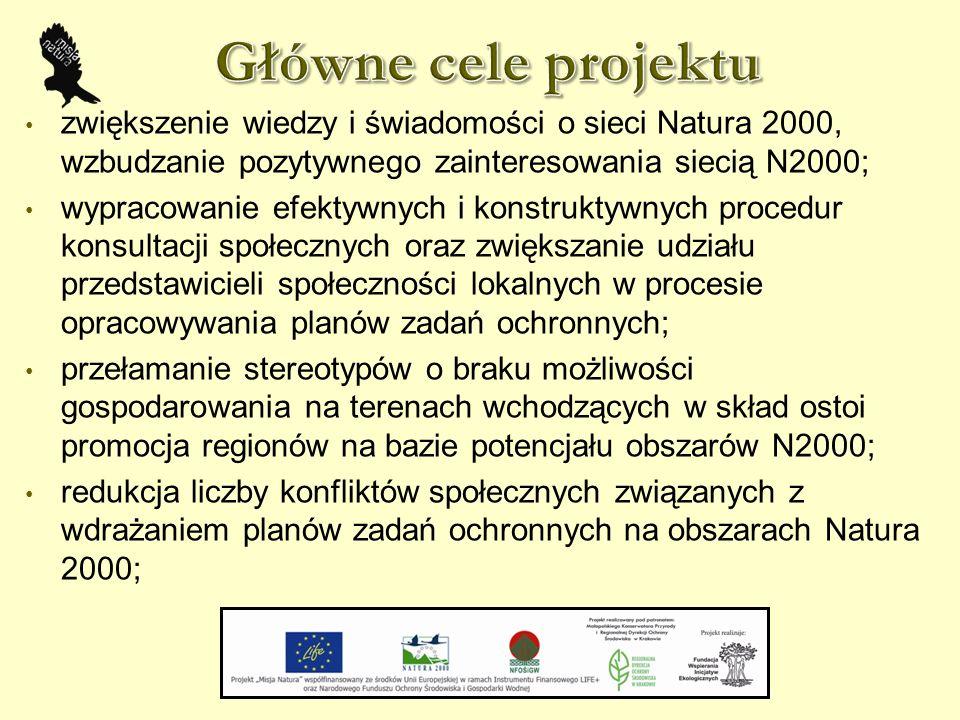zwiększenie wiedzy i świadomości o sieci Natura 2000, wzbudzanie pozytywnego zainteresowania siecią N2000; wypracowanie efektywnych i konstruktywnych procedur konsultacji społecznych oraz zwiększanie udziału przedstawicieli społeczności lokalnych w procesie opracowywania planów zadań ochronnych; przełamanie stereotypów o braku możliwości gospodarowania na terenach wchodzących w skład ostoi promocja regionów na bazie potencjału obszarów N2000; redukcja liczby konfliktów społecznych związanych z wdrażaniem planów zadań ochronnych na obszarach Natura 2000;