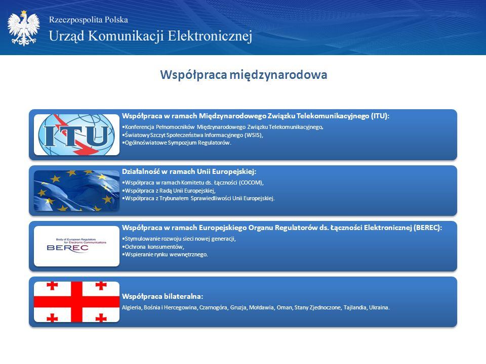 Współpraca międzynarodowa Współpraca w ramach Międzynarodowego Związku Telekomunikacyjnego (ITU): Konferencja Pełnomocników Międzynarodowego Związku Telekomunikacyjnego, Światowy Szczyt Społeczeństwa Informacyjnego (WSIS), Ogólnoświatowe Sympozjum Regulatorów.