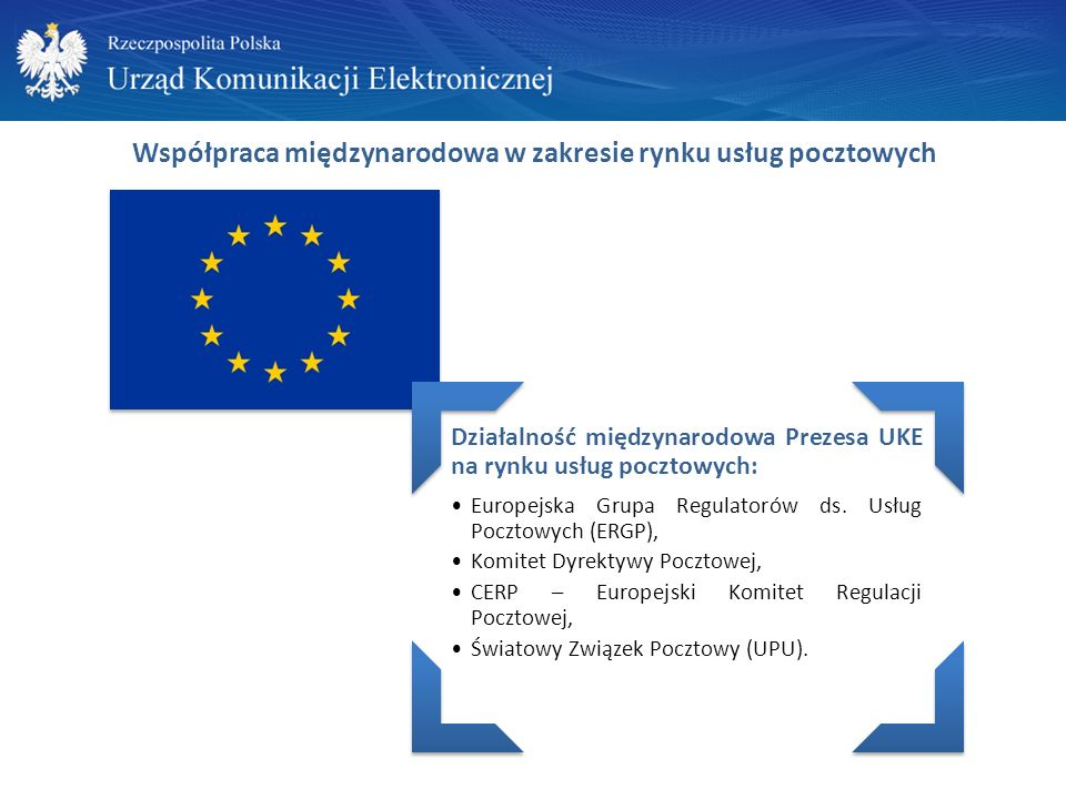 Współpraca międzynarodowa w zakresie rynku usług pocztowych Działalność międzynarodowa Prezesa UKE na rynku usług pocztowych: Europejska Grupa Regulatorów ds.