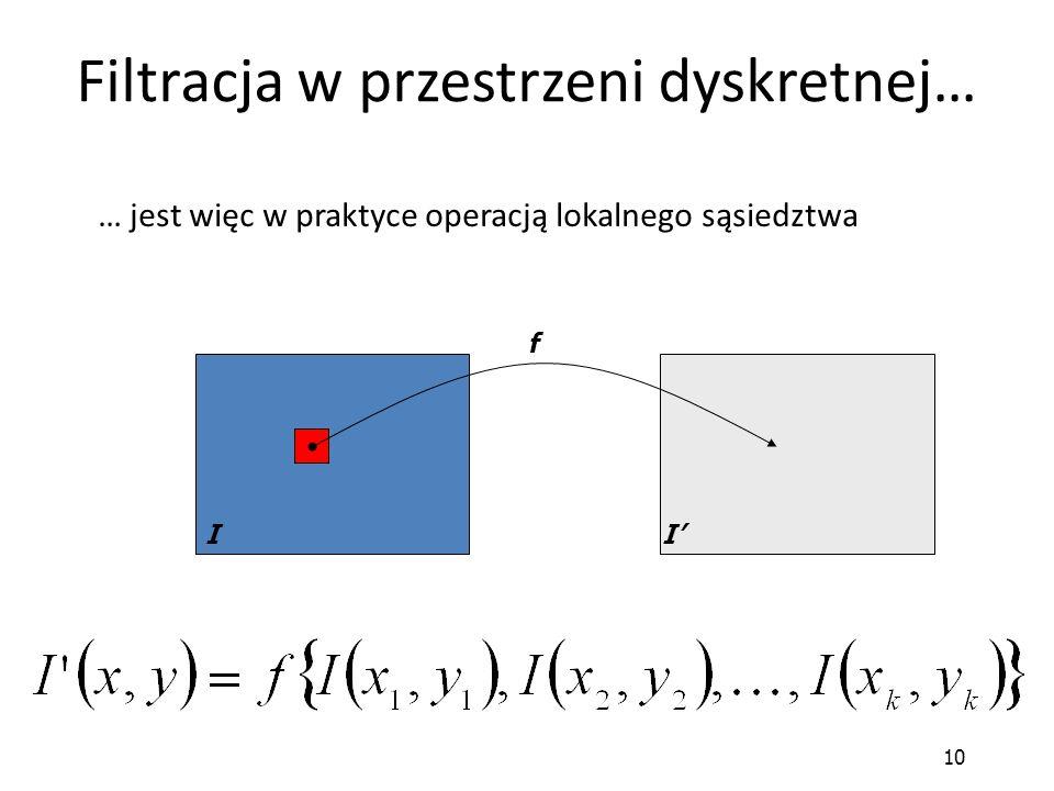 10 Filtracja w przestrzeni dyskretnej… II' f … jest więc w praktyce operacją lokalnego sąsiedztwa