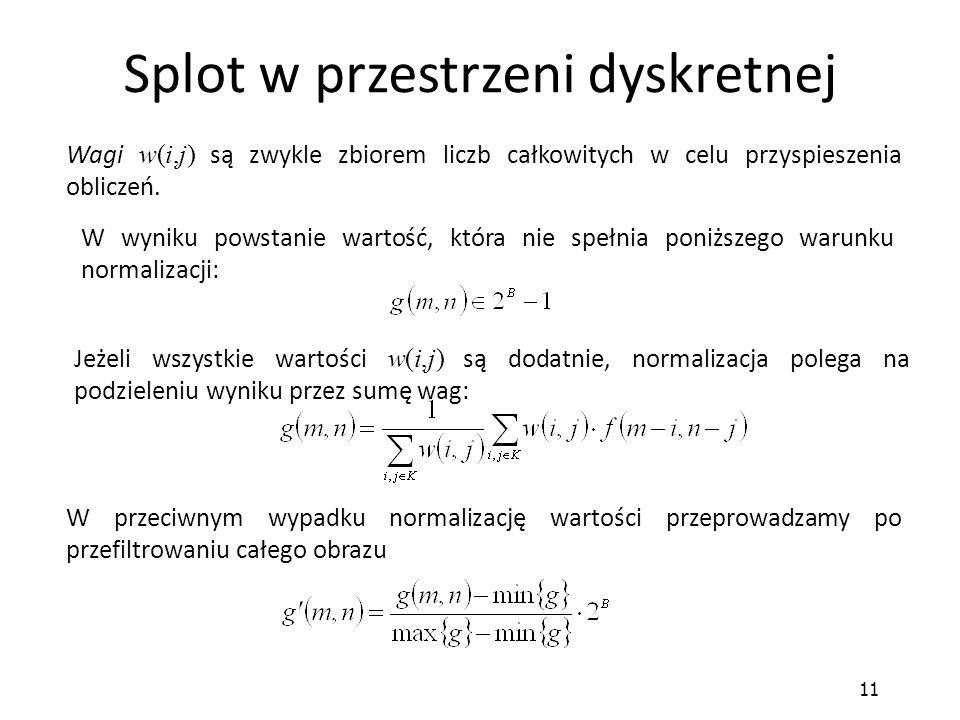 11 Splot w przestrzeni dyskretnej Wagi w(i,j) są zwykle zbiorem liczb całkowitych w celu przyspieszenia obliczeń. Jeżeli wszystkie wartości w(i,j) są