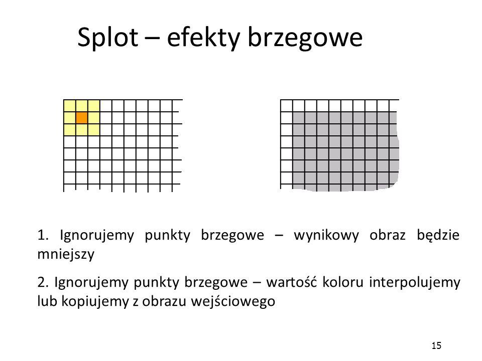 15 Splot – efekty brzegowe 1. Ignorujemy punkty brzegowe – wynikowy obraz będzie mniejszy 2. Ignorujemy punkty brzegowe – wartość koloru interpolujemy