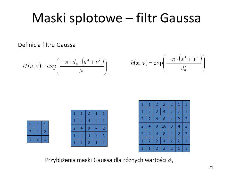 21 Maski splotowe – filtr Gaussa Definicja filtru Gaussa Przybliżenia maski Gaussa dla różnych wartości d 0 121 242 121 421 248 124 112 112 12 42 21 1