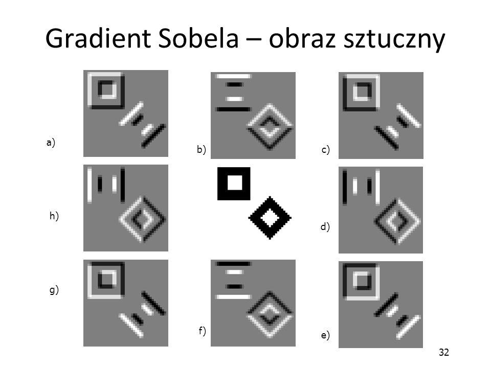 32 Gradient Sobela – obraz sztuczny a) b) c) d) e) f) g) h)