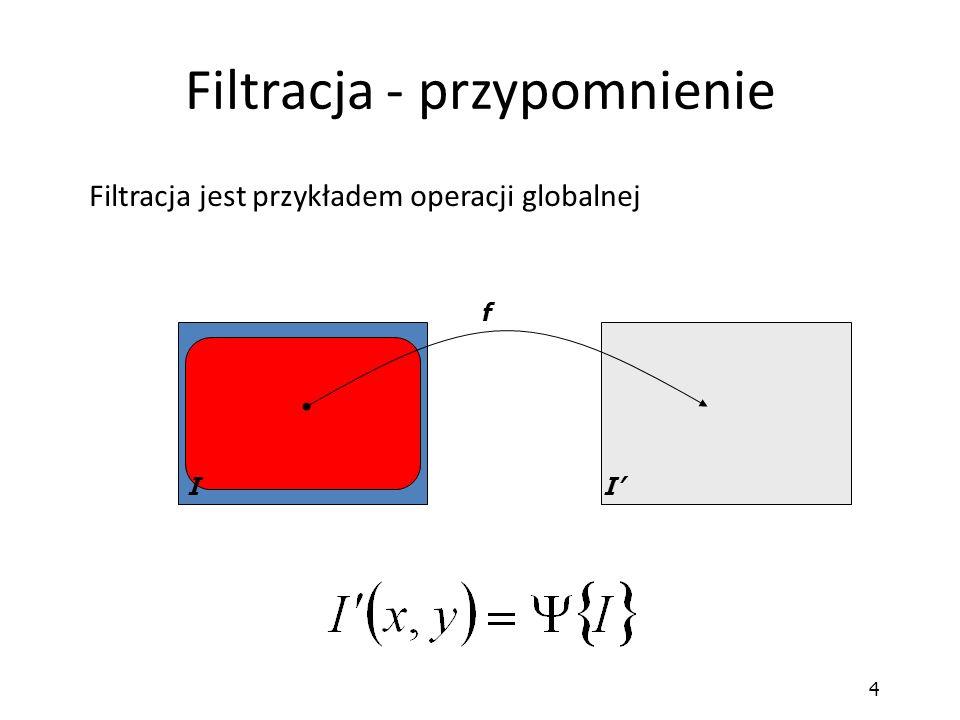 35 Laplasjan Jest używany, gdy nie zależy nam na określeniu kierunku zmiany jasności Charakterystyki częstotliwości dla filtrów Laplace'a Maska Laplace'a jest przybliżeniem idealnego filtru górnoprzepustowego 111 1-81 111 141 4-204 141