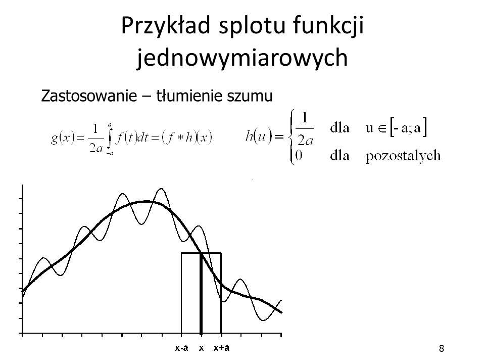 8 Przykład splotu funkcji jednowymiarowych Zastosowanie – tłumienie szumu