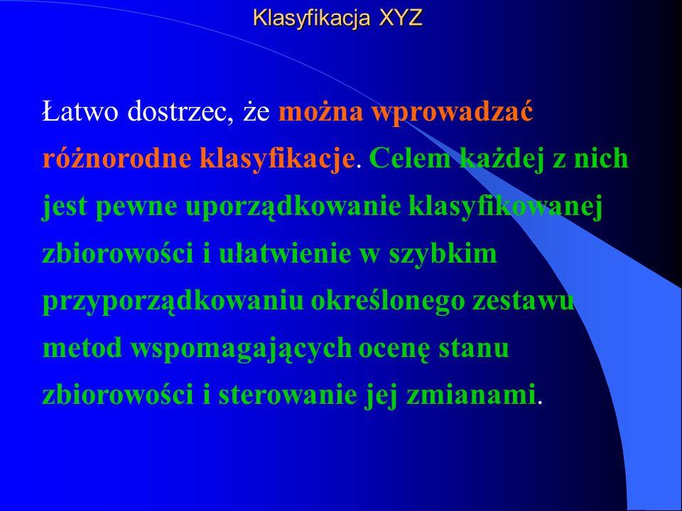 Klasyfikacja XYZ Łatwo dostrzec, że można wprowadzać różnorodne klasyfikacje.