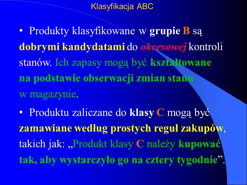 Klasyfikacja ABC Produkty klasyfikowane w grupie B są dobrymi kandydatami do okresowej kontroli stanów.
