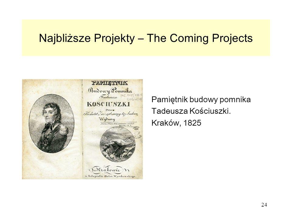 24 Najbliższe Projekty – The Coming Projects Pamiętnik budowy pomnika Tadeusza Kościuszki.