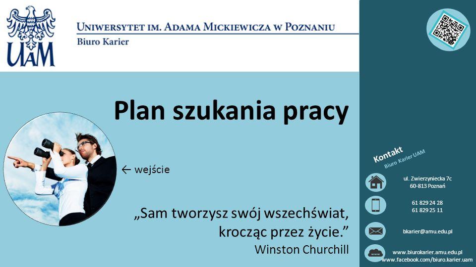Plan szukania pracy Kontakt Biuro Karier UAM ul.