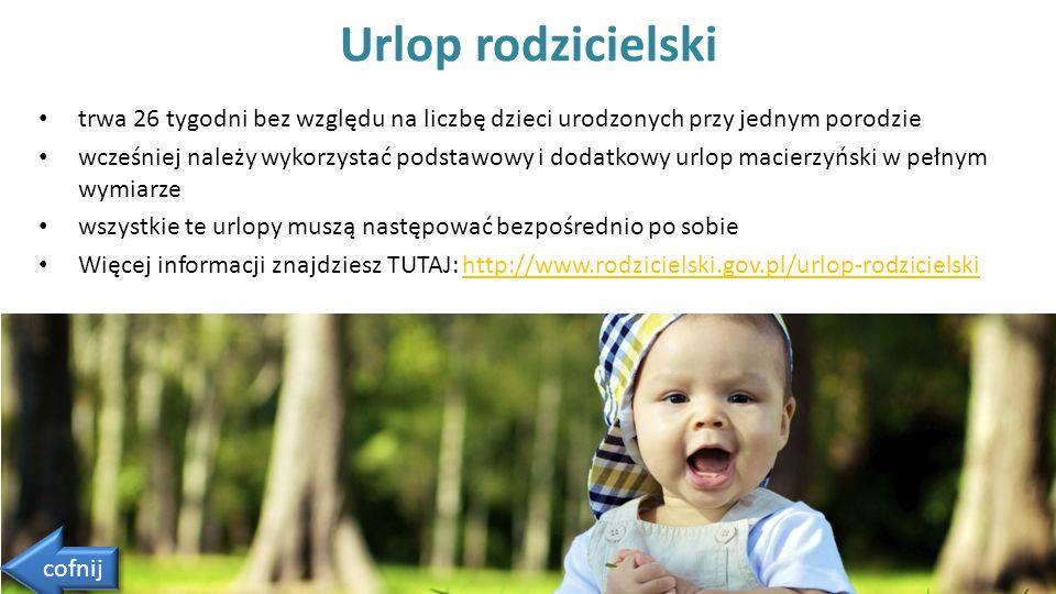 trwa 26 tygodni bez względu na liczbę dzieci urodzonych przy jednym porodzie wcześniej należy wykorzystać podstawowy i dodatkowy urlop macierzyński w