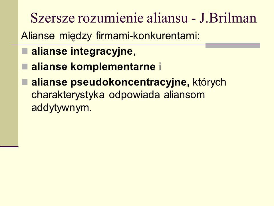 Szersze rozumienie aliansu - J.Brilman Alianse między firmami-konkurentami: alianse integracyjne, alianse komplementarne i alianse pseudokoncentracyjne, których charakterystyka odpowiada aliansom addytywnym.