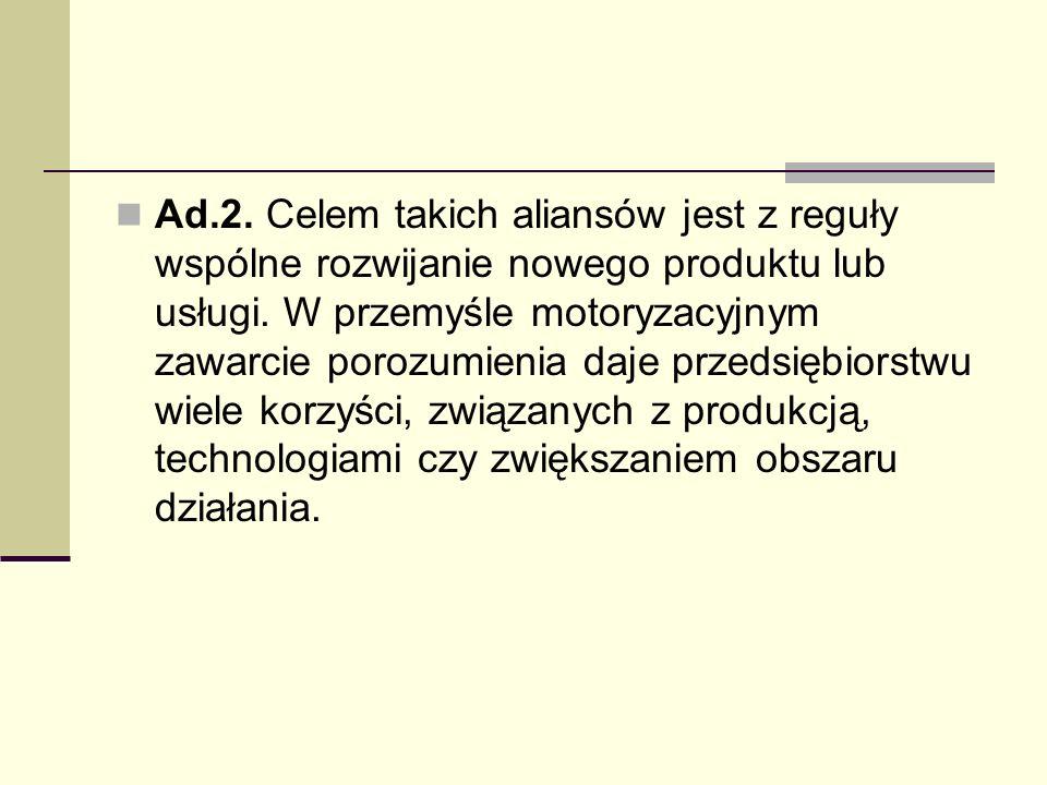 Ad.2.Celem takich aliansów jest z reguły wspólne rozwijanie nowego produktu lub usługi.