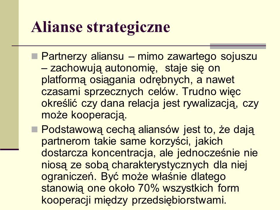 Alianse strategiczne Partnerzy aliansu – mimo zawartego sojuszu – zachowują autonomię, staje się on platformą osiągania odrębnych, a nawet czasami sprzecznych celów.