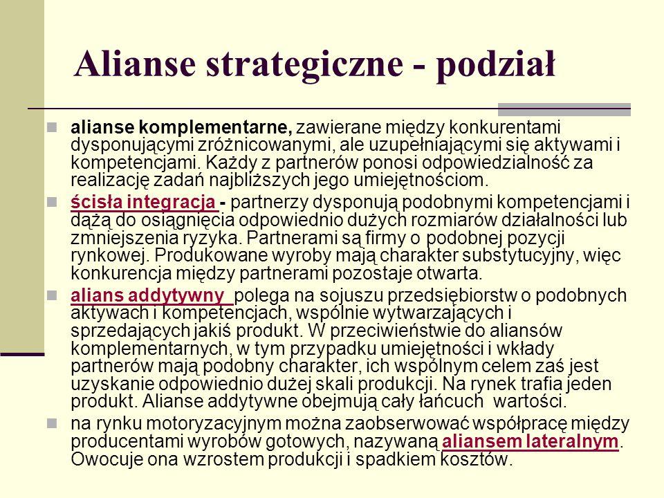 Alianse strategiczne - podział alianse komplementarne, zawierane między konkurentami dysponującymi zróżnicowanymi, ale uzupełniającymi się aktywami i kompetencjami.