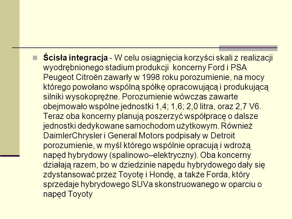 Ścisła integracja - W celu osiągnięcia korzyści skali z realizacji wyodrębnionego stadium produkcji koncerny Ford i PSA Peugeot Citroën zawarły w 1998 roku porozumienie, na mocy którego powołano wspólną spółkę opracowującą i produkującą silniki wysokoprężne.