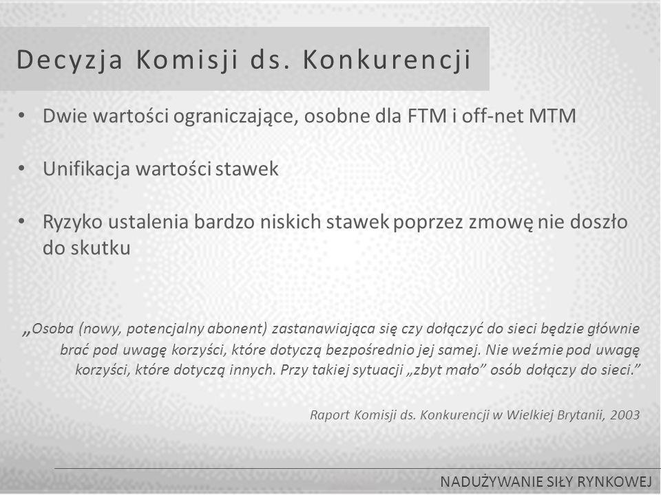 Decyzja Komisji ds. Konkurencji NADUŻYWANIE SIŁY RYNKOWEJ Dwie wartości ograniczające, osobne dla FTM i off-net MTM Unifikacja wartości stawek Ryzyko