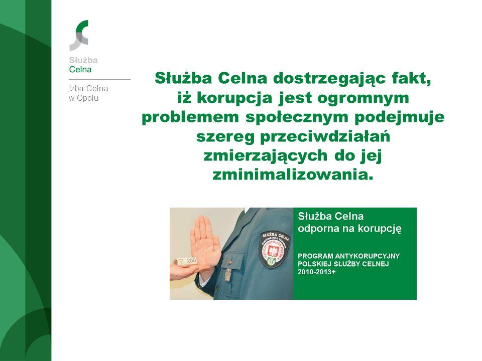 Izba Celna w Opolu Służba Celna dostrzegając fakt, iż korupcja jest ogromnym problemem społecznym podejmuje szereg przeciwdziałań zmierzających do jej