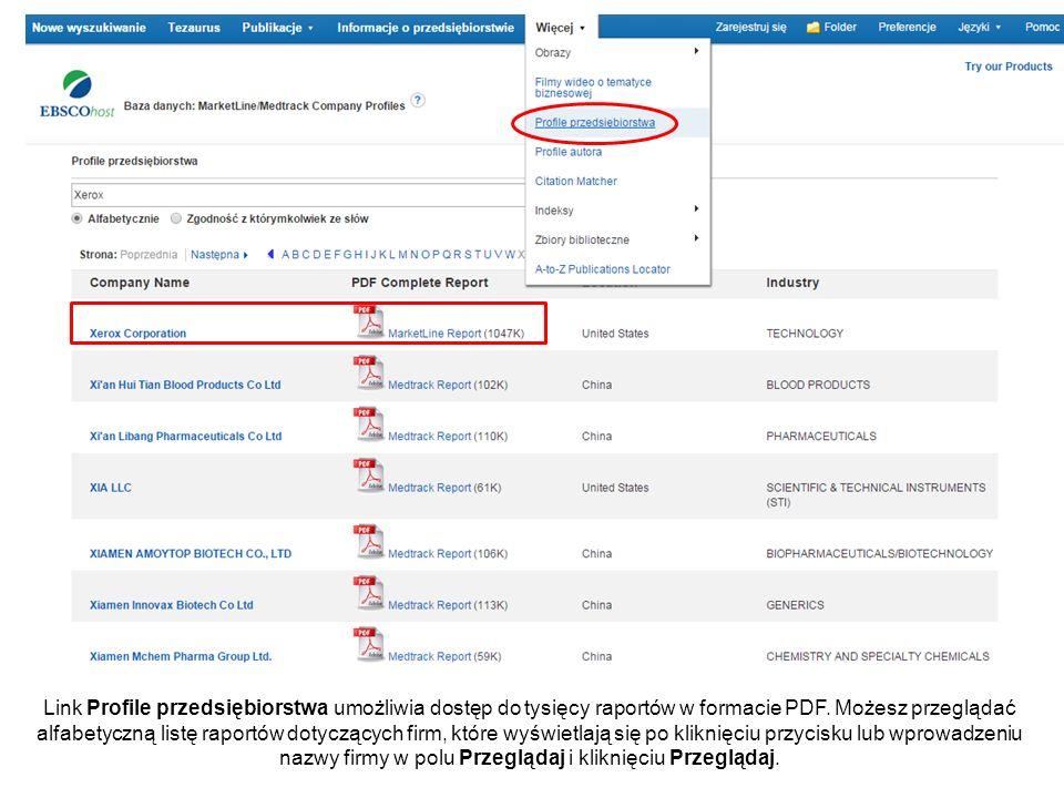 Link Profile przedsiębiorstwa umożliwia dostęp do tysięcy raportów w formacie PDF. Możesz przeglądać alfabetyczną listę raportów dotyczących firm, któ