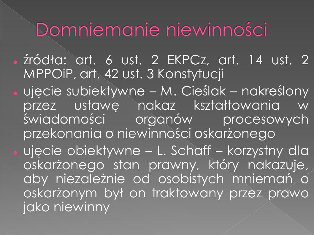 źródła: art. 6 ust. 2 EKPCz, art. 14 ust. 2 MPPOiP, art.