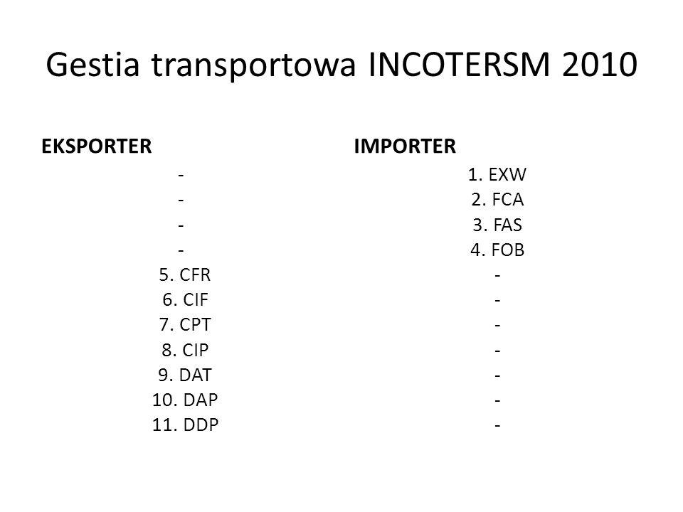 Gestia transportowa INCOTERSM 2010 EKSPORTER - 5. CFR 6. CIF 7. CPT 8. CIP 9. DAT 10. DAP 11. DDP IMPORTER 1. EXW 2. FCA 3. FAS 4. FOB -