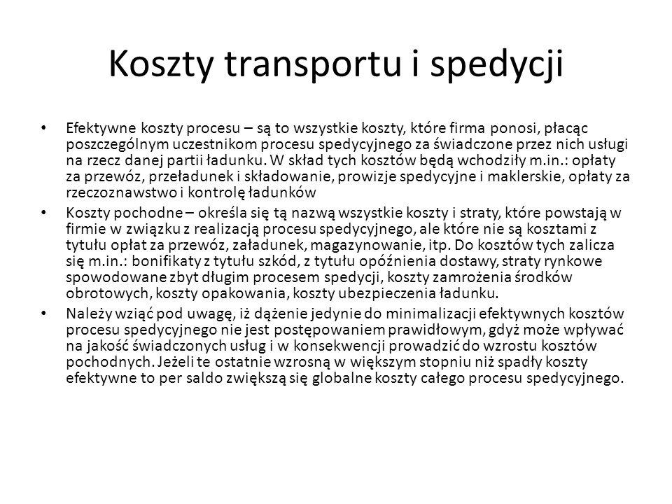 Koszty transportu i spedycji Efektywne koszty procesu – są to wszystkie koszty, które firma ponosi, płacąc poszczególnym uczestnikom procesu spedycyjn