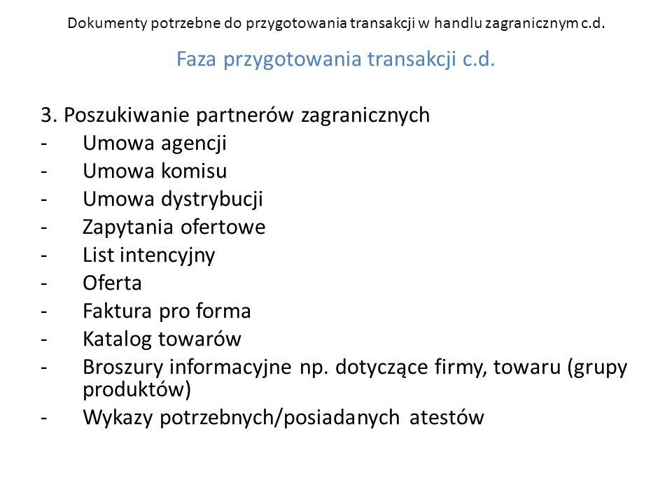 Dokumenty potrzebne do przygotowania transakcji w handlu zagranicznym c.d. Faza przygotowania transakcji c.d. 3. Poszukiwanie partnerów zagranicznych