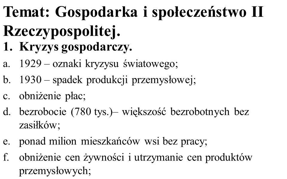 Temat: Gospodarka i społeczeństwo II Rzeczypospolitej.
