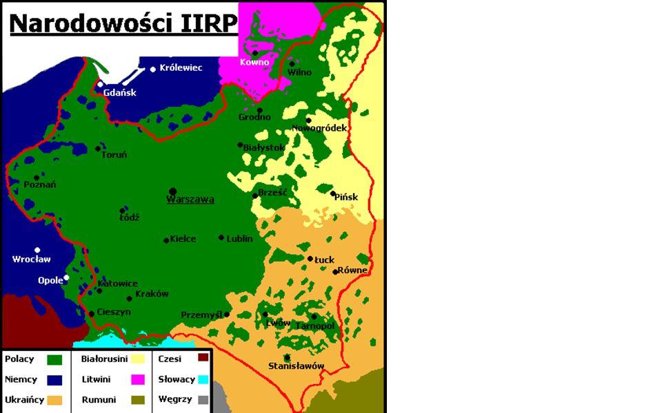 e.mniejszości były na ogół niechętne wobec państwa, uważały, że Polska nie przetrwa; f.konflikty między państwem a mniejszościami: -o szkolnictwo, -o ziemię (kształt reformy rolnej), -gospodarcze (o handel, i niektóre zawody umysłowe z Żydami), -o kształcenie na wyższych uczelniach (z Żydami) mimo to położenie Żydów w Polsce było o wiele lepsze niż w Niemczech czy ZSRR.