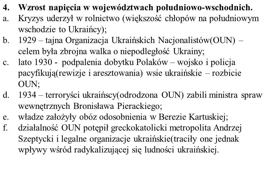 4.Wzrost napięcia w województwach południowo-wschodnich.